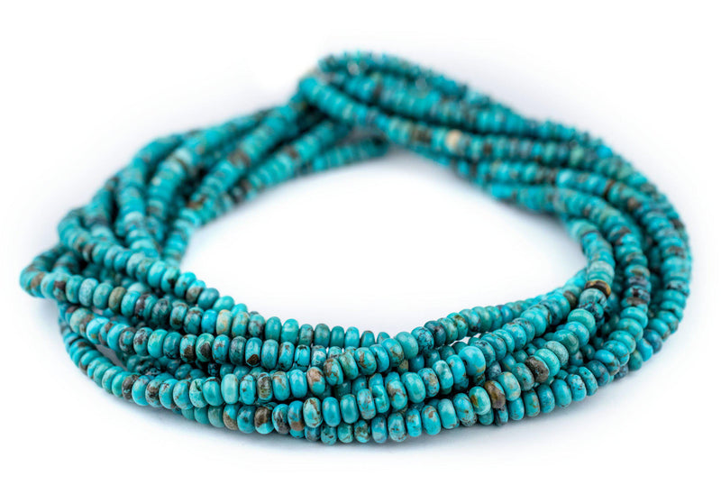 Blue Turquoise Rondelle Beads (6mm) - The Bead Chest