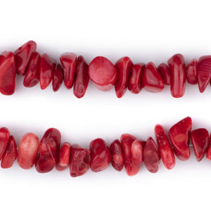 Crimson Red Coral Chip Beads (7-9mm)