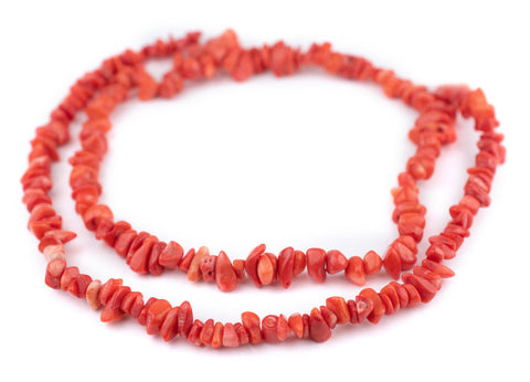 Scarlet Red Coral Chip Beads (7-9mm)