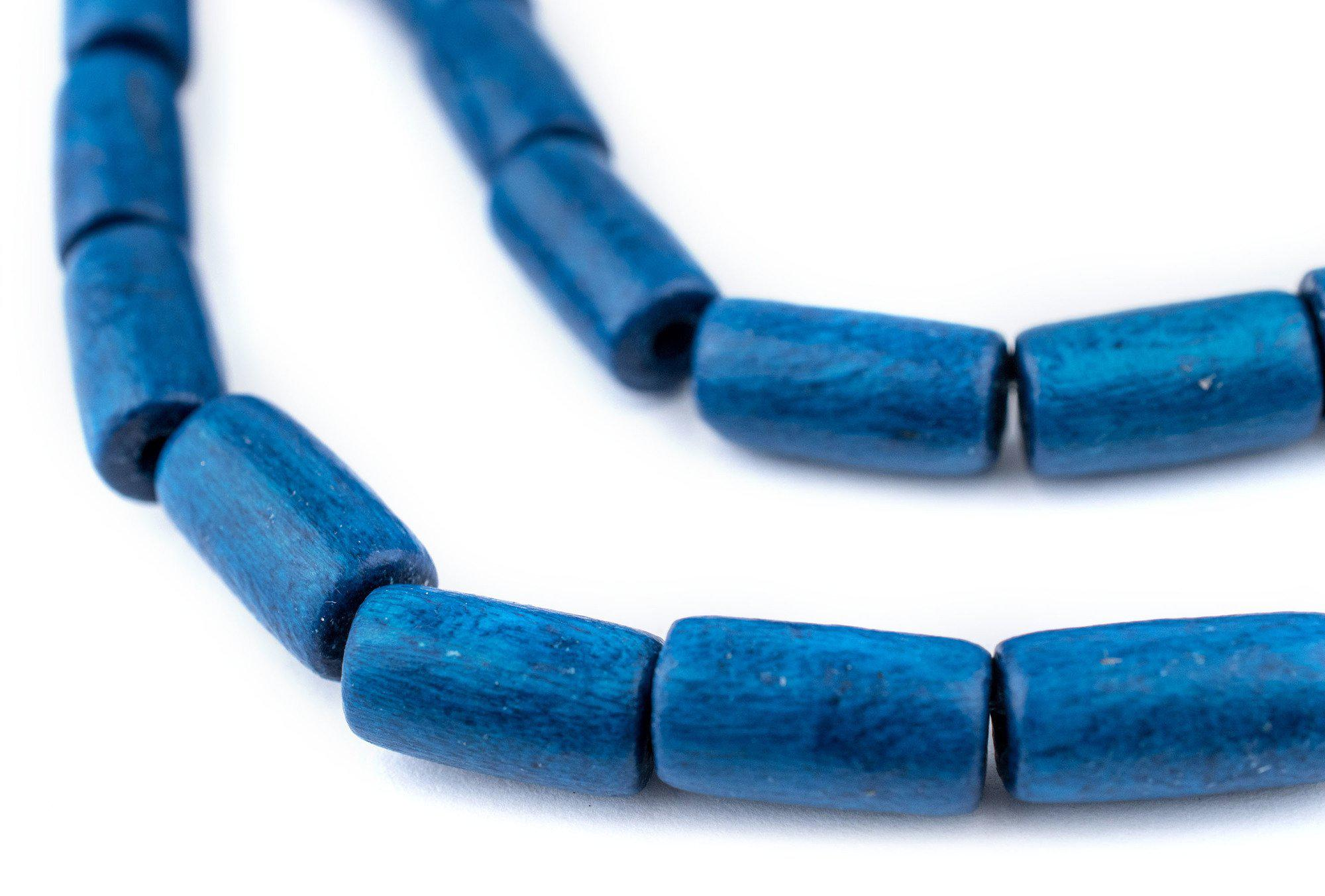 Cobalt Blue Tube Natural Wood Beads 15x8mm Large Hole 16 Inch Strand