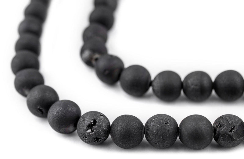 Black Round Druzy Agate Beads (8mm) - The Bead Chest