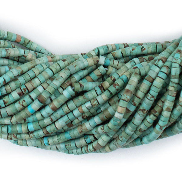 Green Turquoise Afghani Stone Cylinder Beads (2mm)