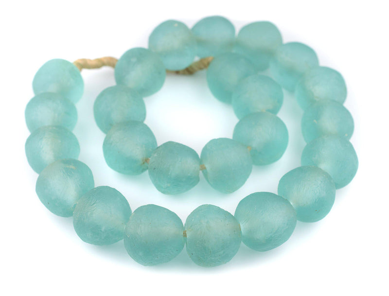 Super Jumbo Dark Aqua Recycled Glass Beads (35mm) - The Bead Chest