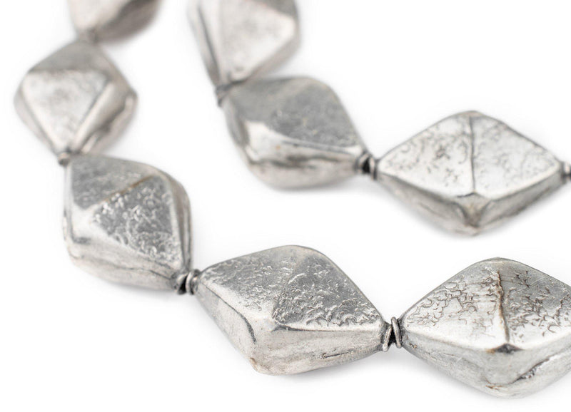 Silver Bicone Hollow Tribal Beads (32x22mm)
