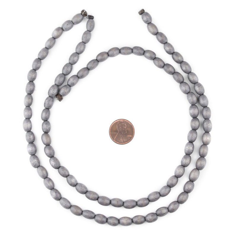 Grey Oval Natural Wood Beads (9x6mm) - The Bead Chest