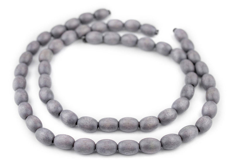 Grey Oval Natural Wood Beads (15x10mm) - The Bead Chest