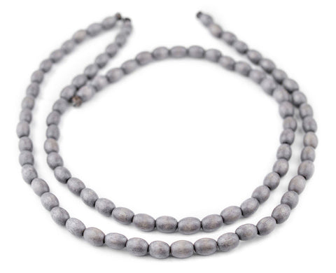 Image of Grey Oval Natural Wood Beads (9x6mm) - The Bead Chest