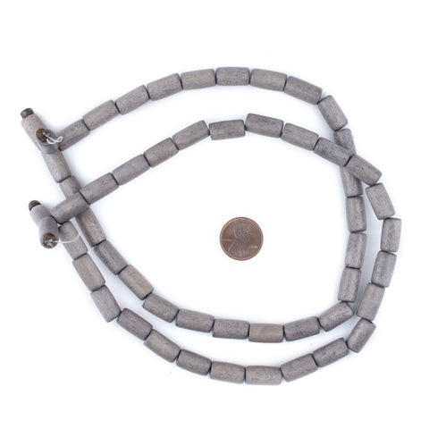 Image of Grey Tube Natural Wood Beads (15x8mm) - The Bead Chest