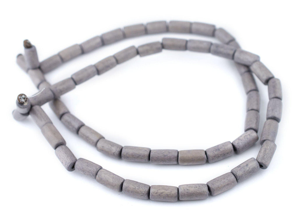 Grey Tube Natural Wood Beads (15x8mm) - The Bead Chest