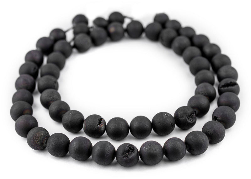 Black Round Druzy Agate Beads (14mm) - The Bead Chest