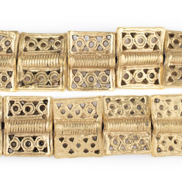 Lattice Rectangular Brass Baule Beads (16x20mm)