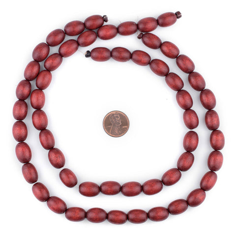 Cherry Red Oval Natural Wood Beads (15x10mm) - The Bead Chest