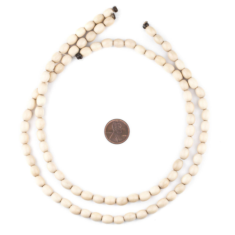 Cream Oval Natural Wood Beads (9x6mm) - The Bead Chest
