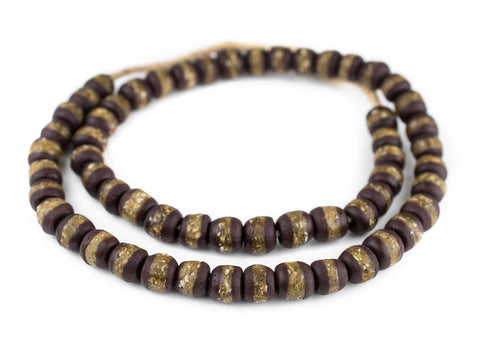 Dark Brown Kente Krobo Beads - The Bead Chest