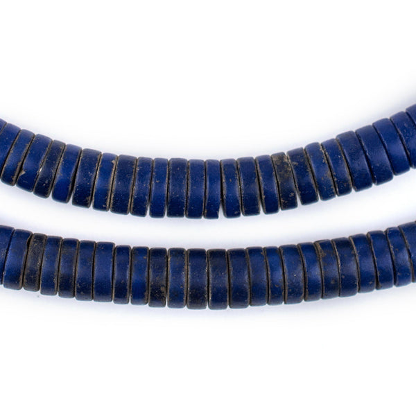 Navy Blue Sliced Prosser Beads - The Bead Chest