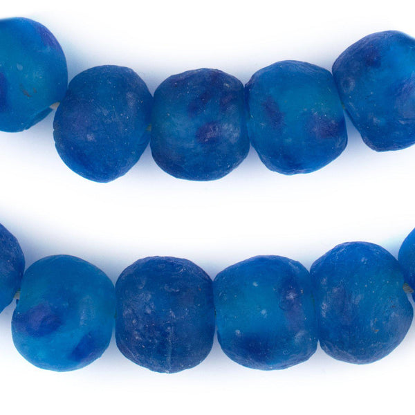 Aqua Swirl Recycled Glass Beads (18mm) - The Bead Chest