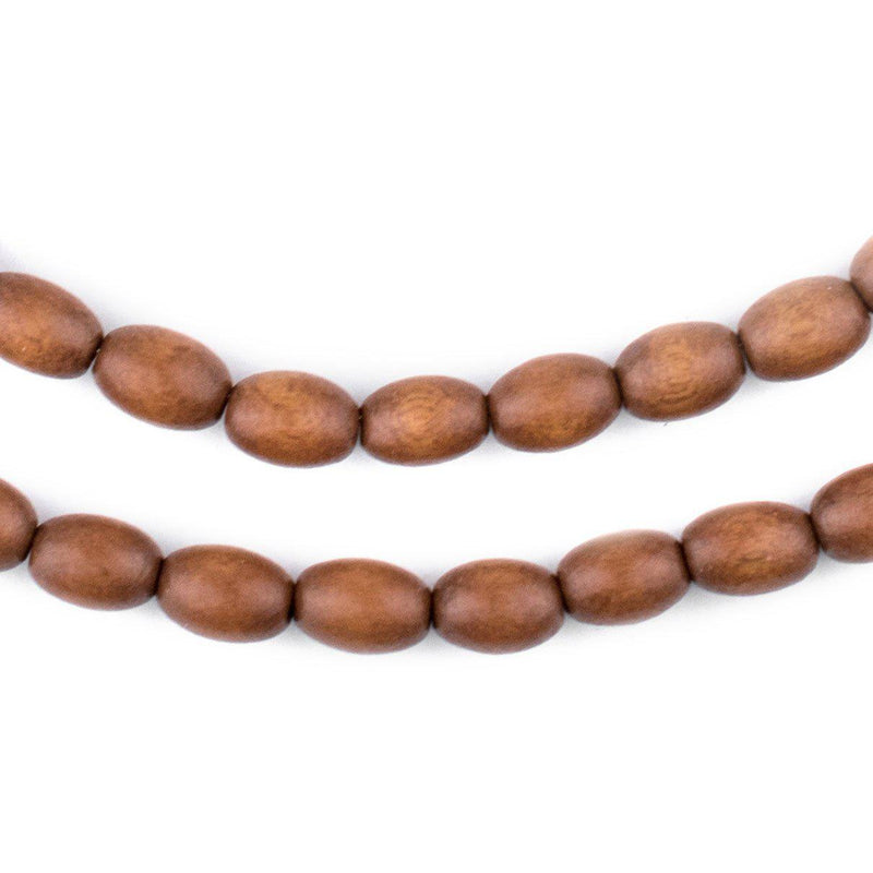 Light Brown Oval Natural Wood Beads (9x6mm) - The Bead Chest