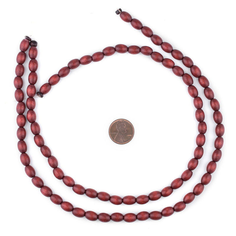 Cherry Red Oval Natural Wood Beads (9x6mm) - The Bead Chest