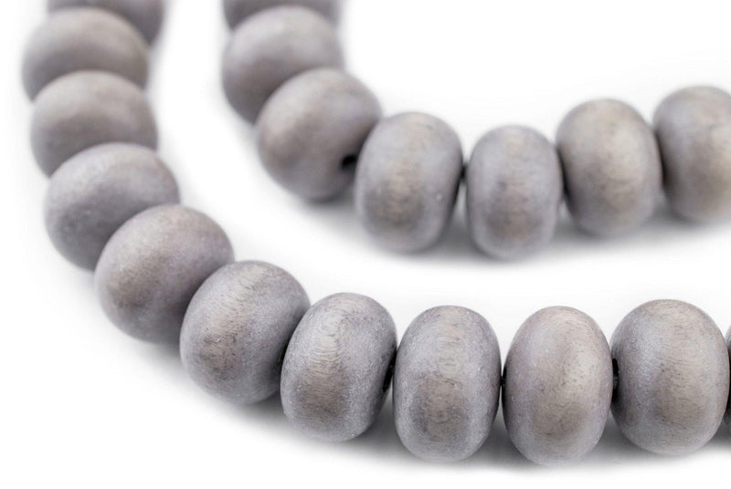 Grey Abacus Natural Wood Beads (10x15mm) - The Bead Chest