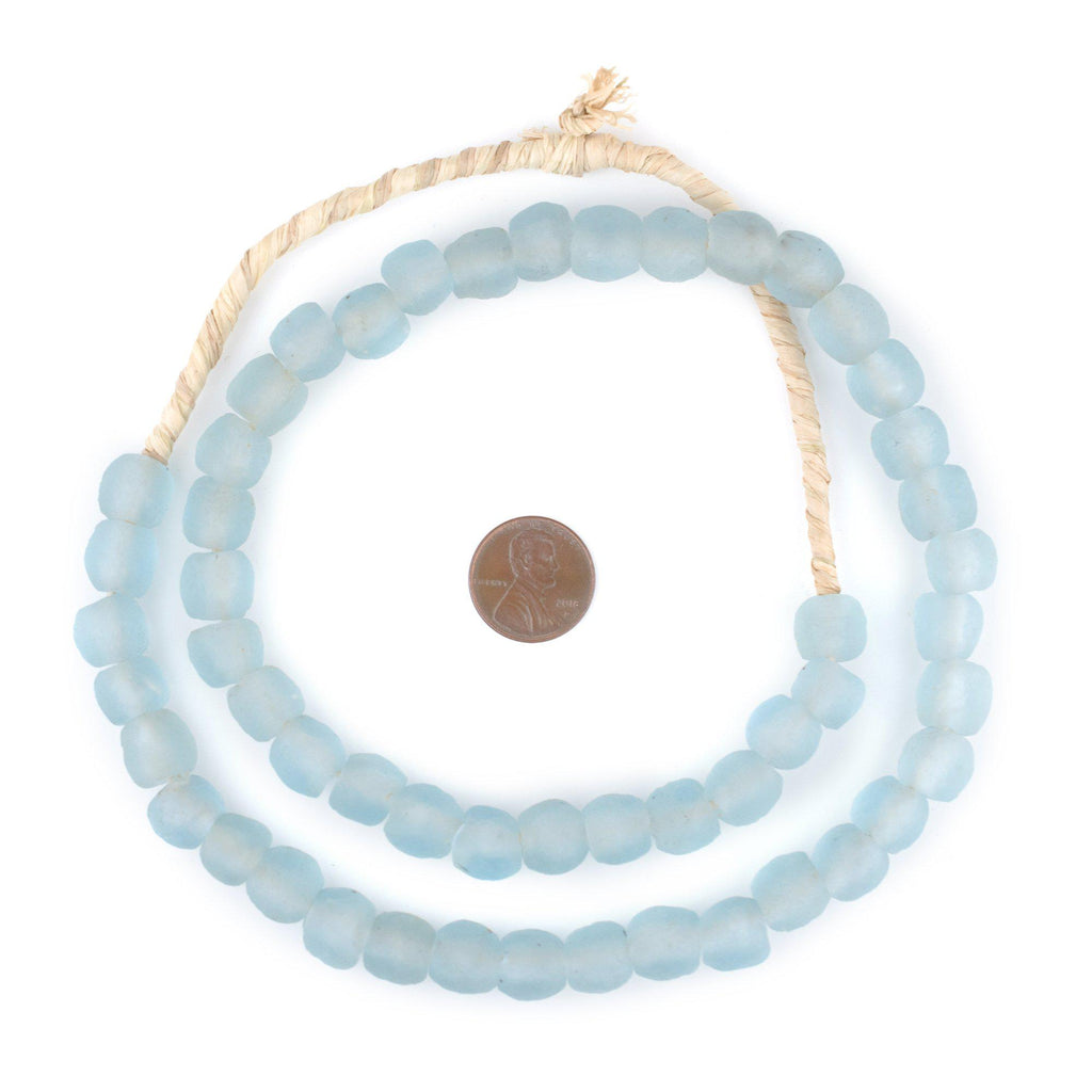 Baby Blue Recycled Glass Beads (11mm) - The Bead Chest