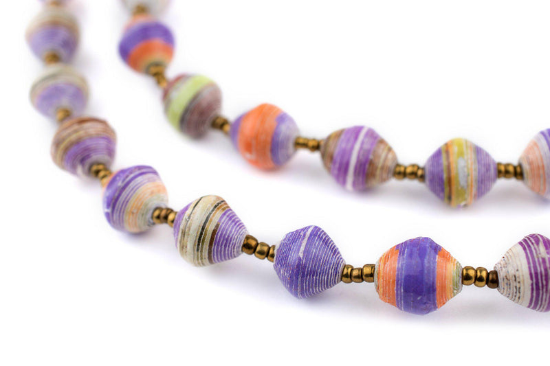 Purple Sunrise Recycled Paper Beads from Uganda - The Bead Chest