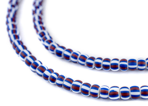 Matte Red White & Blue Ghana Chevron Beads (6mm) - The Bead Chest