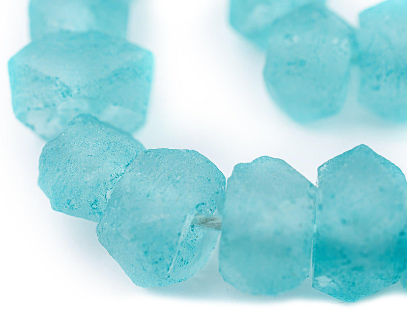 Aqua Faceted Recycled Java Glass Beads - The Bead Chest