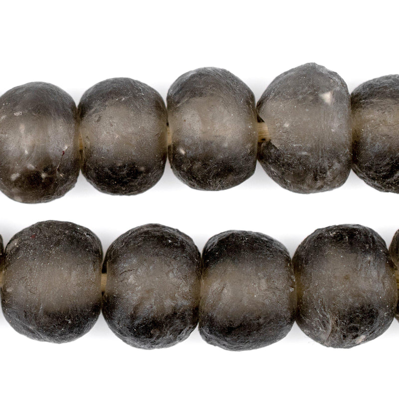 Groundhog Grey Recycled Glass Beads (18mm) - The Bead Chest
