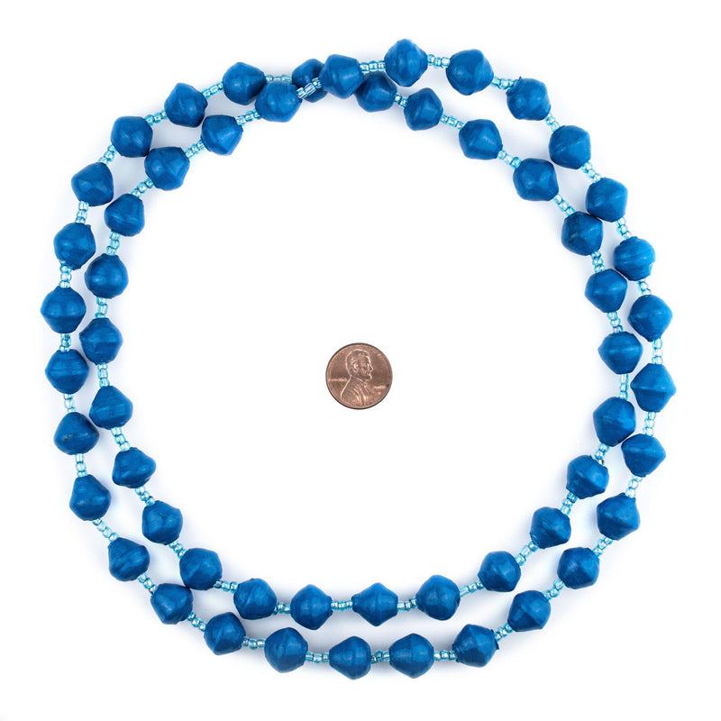 Cobalt Blue Recycled Paper Beads from Uganda - The Bead Chest