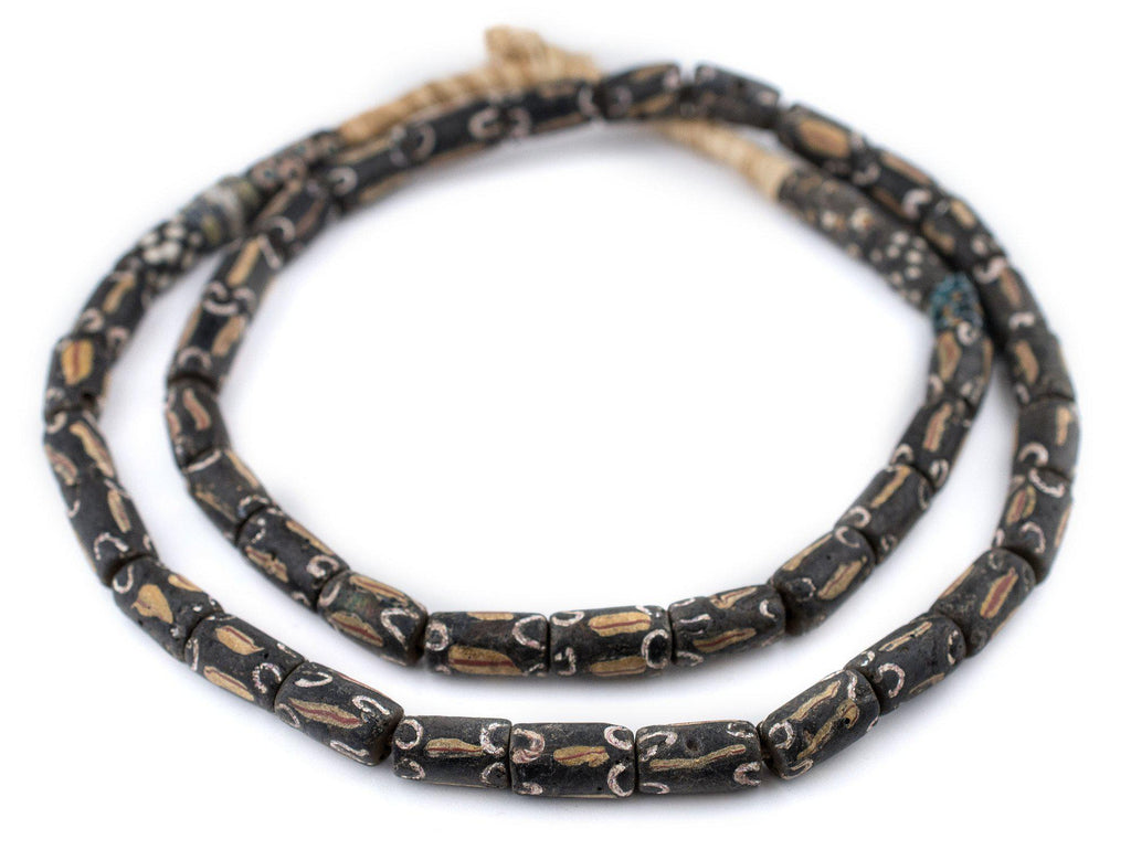 Black Flame Matching Venetian Antique Trade Beads - The Bead Chest