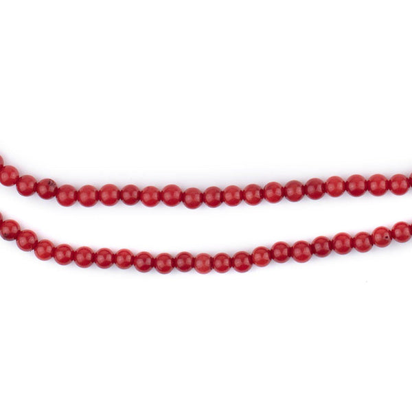 Round Red Coral Beads (3mm)