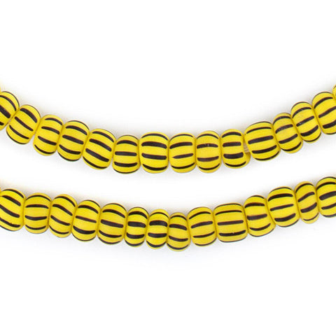 Image of Matte Yellow & Black Ghana Chevron Beads (8mm) - The Bead Chest