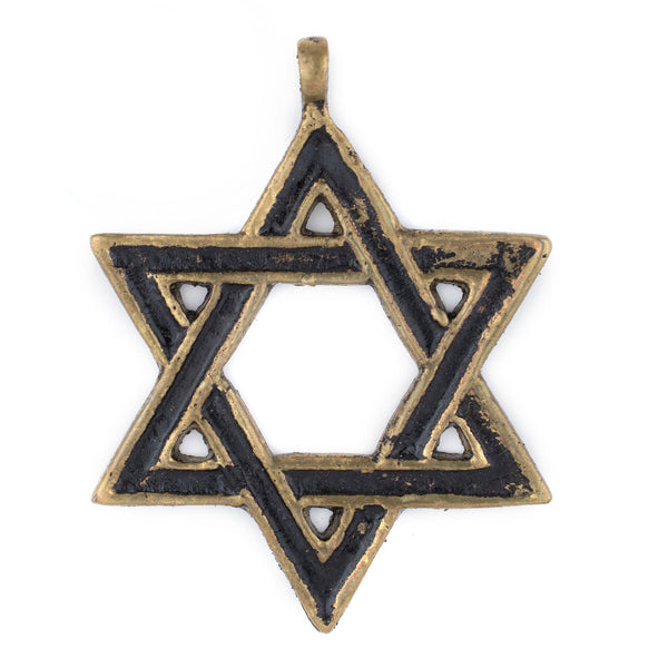 Brass Star of David Pendant (48x62mm)