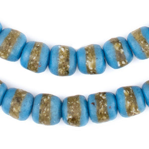 Light Blue Kente Krobo Beads - The Bead Chest