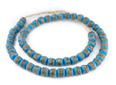 Image of Light Blue Kente Krobo Beads - The Bead Chest