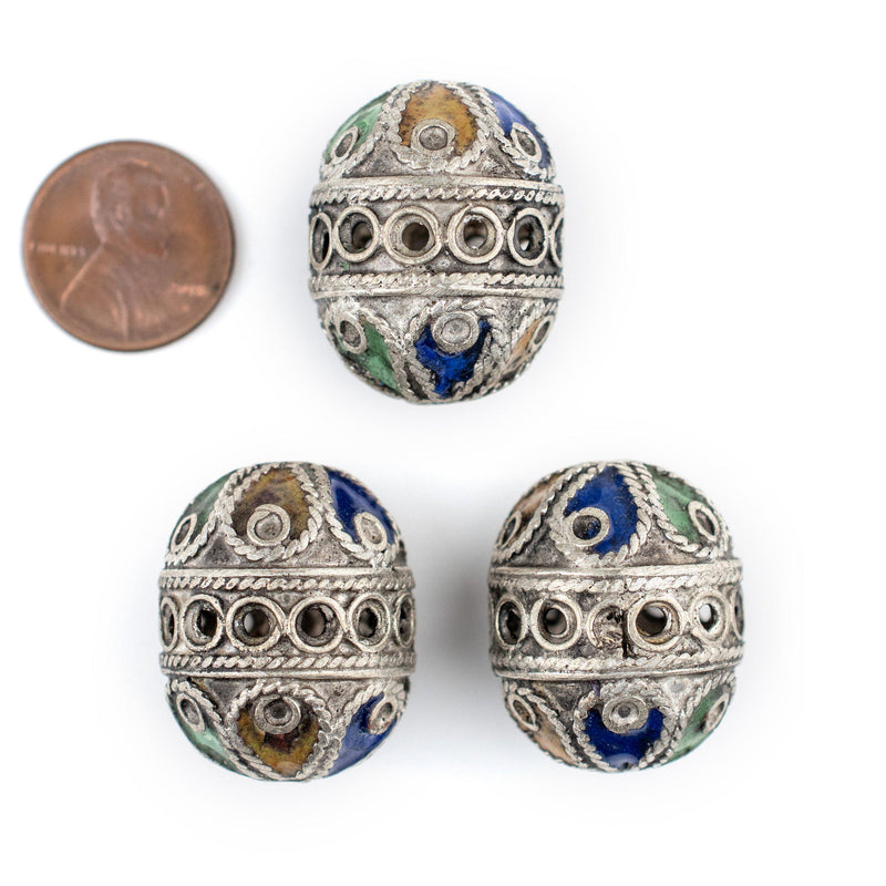 Artisanal Enameled Round Silver Berber Beads (3 pieces) - The Bead Chest