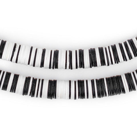 Black & White Vinyl Phono Record Beads (8mm) - The Bead Chest