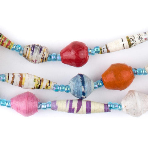 Circus Medley Recycled Paper Beads from Uganda - The Bead Chest
