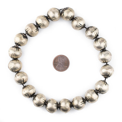 Image of Ethiopian Silver Patterned Round Beads (15mm) - The Bead Chest