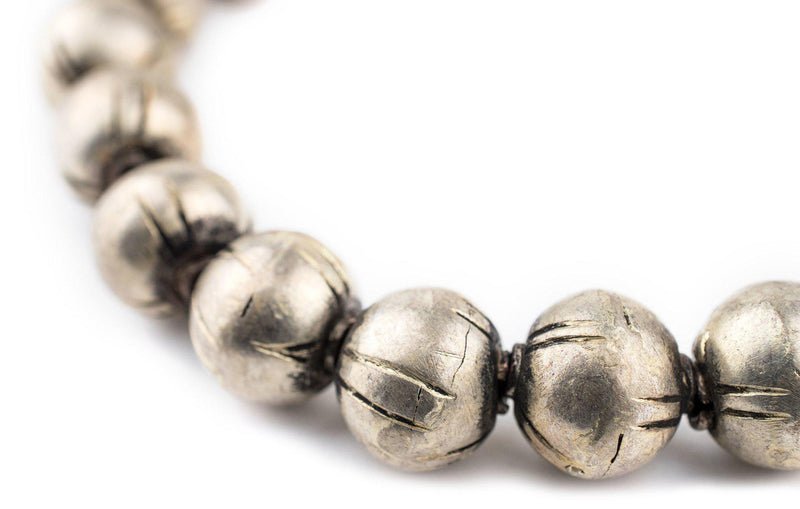 Ethiopian Silver Patterned Round Beads (15mm) - The Bead Chest
