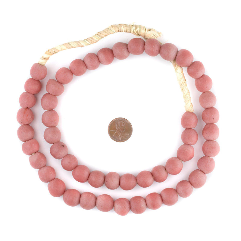 Opaque Pink Recycled Glass Beads (14mm) - The Bead Chest