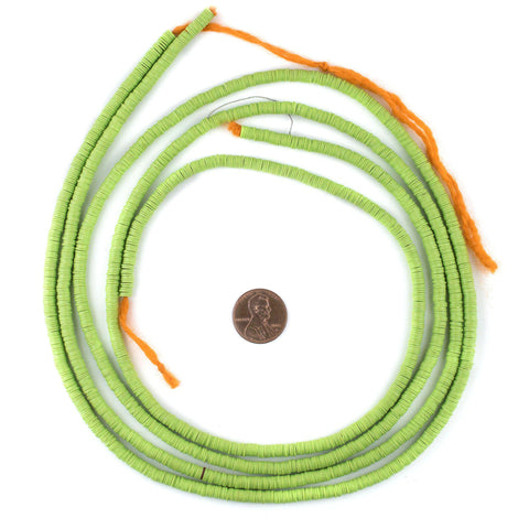 Neon Green Vinyl Phono Record Beads (4mm) - The Bead Chest