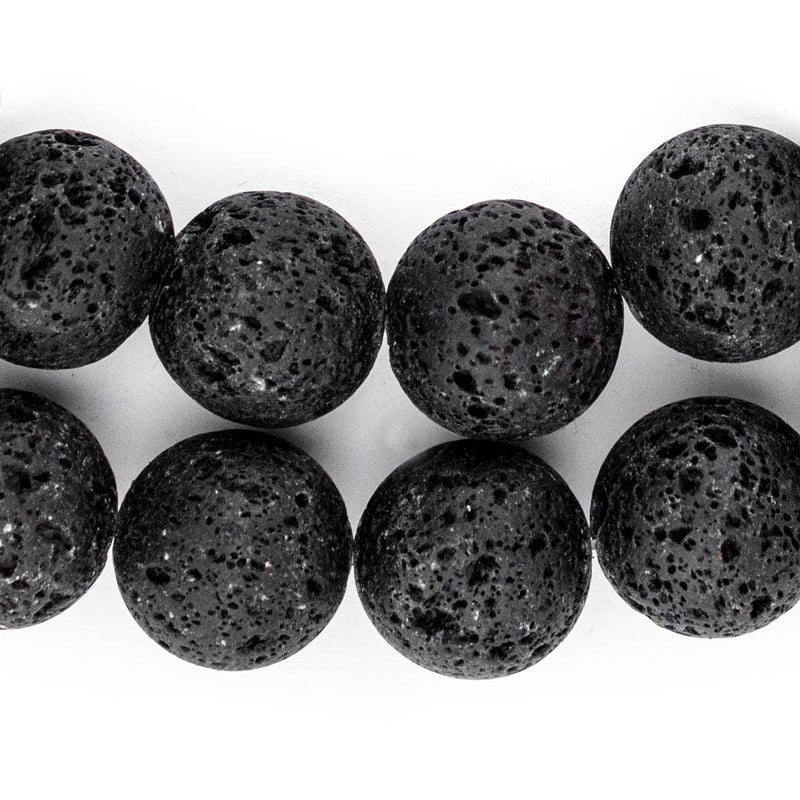 Black Volcanic Lava Beads (18mm) - The Bead Chest