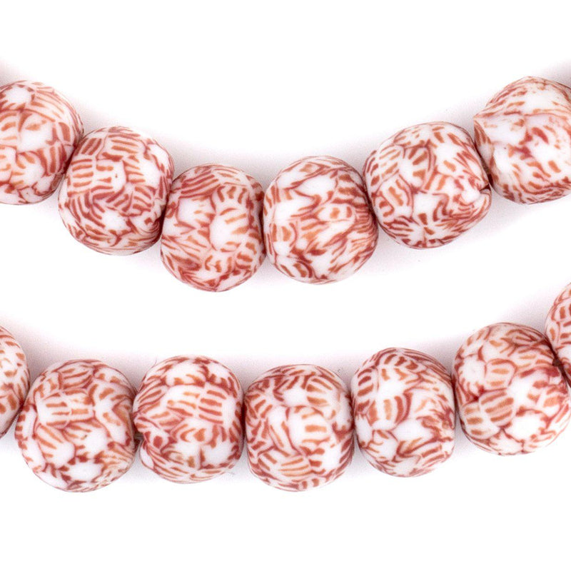 Red & White Fused Recycled Glass Beads (14mm) - The Bead Chest