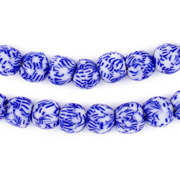 Blue & White Fused Recycled Glass Beads (9mm)
