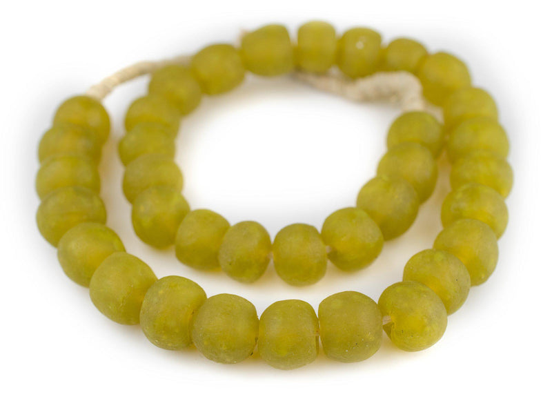 Corn Yellow Recycled Glass Beads (18mm) - The Bead Chest
