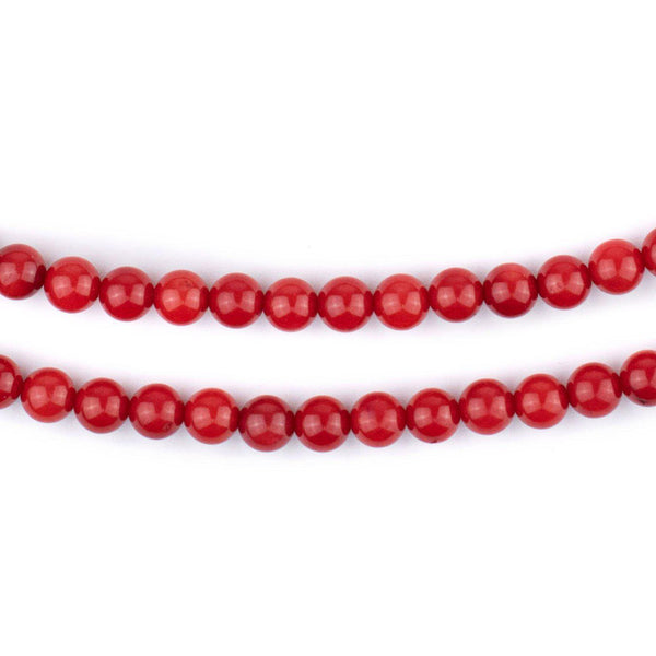 Round Red Coral Beads (5mm)