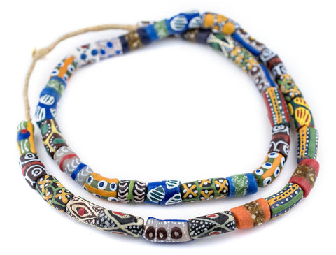Image of Multicolor Krobo Powder Glass Beads (Long Strand) - The Bead Chest