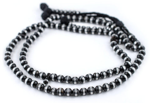 Silver-Inlaid Striped Black Coral Arabian Prayer Beads (8mm) - The Bead Chest