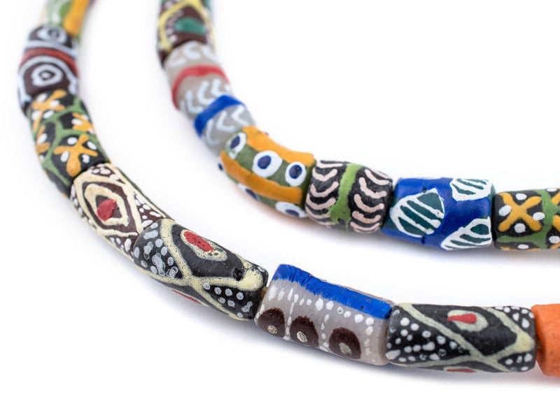 Multicolor Krobo Powder Glass Beads (Long Strand) - The Bead Chest
